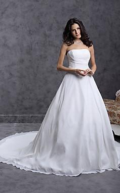 الجملة الجملة فستان الزفاف ثوب الكرة قطار الكاتدرائية أكثر من الشيفون الحرير حمالة مع الديكور