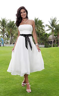 الجملة الجملة سطر حمالة الشاي طول الشيفون أكثر مرونة المنسوجة الساتان فستان الزفاف مع الشريط