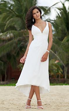 الجملة الجملة فستان الزفاف خط غير متناظرة وثوب الزفاف الشاي طول الشيفون الخامس الرقبة مع الديكور
