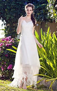 الجملة الجملة سطر الخامس الرقبة الأورجانزا فستان الزفاف غير المتكافئة