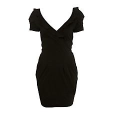 venta al por mayor forma de tulipán acanalada manga corta cuello v volantes vestido plisado / vestidos de mujer (ff-1802bf004-0853)
