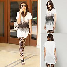venta al por mayor gradiente de color geométricas palangre lentejuelas impresas con collar de la camiseta / la mujer de la t-shirts (ss-f-cc11333002)
