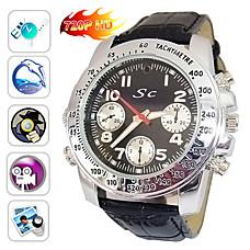 venta al por mayor 720p HD 1280x720 dvr impermeable reloj deportivo con 4 g de memoria, carcasa de acero inoxidable, cámara oculta