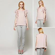 venta al por mayor volantes en capas blusa suelta / blusas de las mujeres (ss-d-cc1271001)