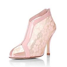 rendas bombas calcanhar superior do estilete com sapatos de casamento zipper