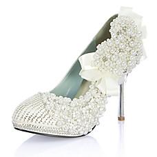 ultra luxuoso couro salto agulha superior fechada dedo do pé com a imitação do casamento da pérola / sapatas do partido (1181-1001-2)