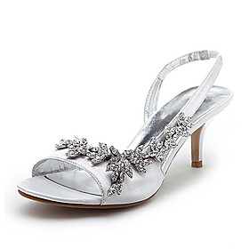 Satin Upper Mid Heel Strappy Sandals Wedding Bridal ShoesMore Colors Available