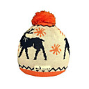 SAMII Jacquard Deer Crochet Knit Beanie Hat-Orange (0026) (Start From 20 Units)-Free Shipping
