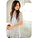 Polka-Dot Chiffon Dress Top White (XJQZ002)