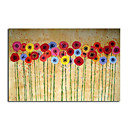"Handmade Oil Painting on Canvas Poppies on Cream and Gold 20"" X 30"" SZH359"