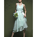 Empire V-neck Tea-length Elastic Silk-like Satin Lace Wedding Dress for Bride (HXGD022)