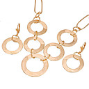 18K Gold Hoop Links Earring Stud and Necklace -CZ Jewelry Set 90220-15(SZY1487)