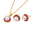 18K Gold Shell Pearl Earring Stud and Necklace -CZ Jewelry Set 90224-11(SZY1485)