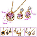 Elegant 18K Gold Plated CZ Pendant And Earring Set-CZ  Jewelry Set 90222-16 (SZY1568) 24pcs/Lot