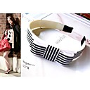 Gossip Girl Hair White And Black Striped Hoop Wide Webbing Bow Hair Band (GGA0023)