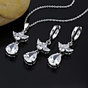 Love Story Cubic Zirconia Pendant and Earring Set - CZ Jewelry Set SLX-0070 (SZY361)