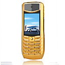 V8 Single Card Tri Band Flashlight Metal Cover Cell Phone Gold (2GB TF Card)(SZRW617)