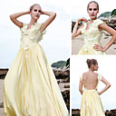 A-line V-neck Floor-length Silk Satin Quick Delivery/ Evening/ Prom Dress (OFGC0266)