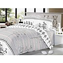 4-pc Queen Size White Viena Printing Cotton Full Size Duvet Cover Set - Free Shipping (0580-9S707007S)