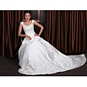 A-line / Princess Chapel Train Satin Wedding Dress Beaded Embroidery (WSM0488)