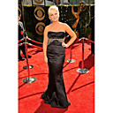 Amy Poehler Trumpet/ Mermaid Strapless Sweep/ Brush Train Elastic satin  Emmy/ Evening Dress (FSH0449)