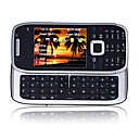 E75 Style WIFI Quad Band Dual Card Dual Standby TV Dual Camera JAVA QWERTY Keypad Metal Cover Side Slide Cell Phone Black