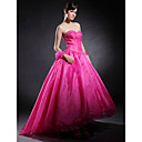 Ball Gown Sweetheart Asymmetrical Applique Satin Organza Tulle Prom/ Evening Dress (HSX1101)