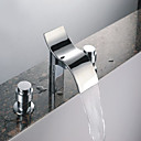 Two Handles Chrome Water-fall Bathroom Sink Faucet (Cold and Hot Switch) (0743-J-FL10012)
