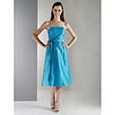 A-line Strapless Tea-length Taffeta Bridesmaid/ Wedding Party Dress (HSX868)
