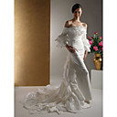 Trumpet/ Mermaid Off-the-shoulder Court Train Taffeta Tiered Wedding Dress