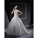 Ball Gown Sweetheart Chapel Train Wedding Dress With Embroidery