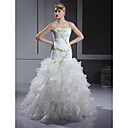 Trumpet/ Mermaid Sweetheart Floor-length Satin Organza Tiered Wedding Dress (WGY0067)
