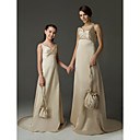 A-line V-neck Sweep/Brush Train Satin Junior Bridesmaid Dress