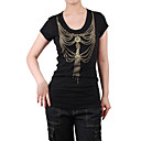 Manga corta cuello a cuentas impresa cadenas Women's T-shirts (4201bc004-0813)