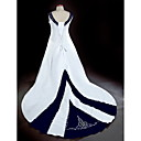 A-line V-neck Chapel Train Satin Plus Size Wedding Dress