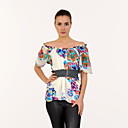 100% Silk Printed Short Sleeves Women's Tops(4202BC105-0736)