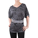 Beaded V Neckline Half Sleeves Tunic T-shirts / Women's T-shirts (8502BD005-0736)