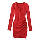 TS Red Gathered Hem Long Sleeve Sweater Dress