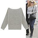 Stripe Weaving Pattern Straight Neckline Sweater/Inspired by KATE MOSS Style/Women's Sweaters (FF-1001BE005-0751)