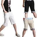 New Arrival Men's Short Straight Leg Relaxed Fashion White Black Beige Yellow Cotton Pant (0531-5.31-3)