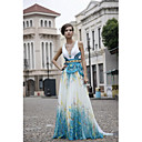 A-line V-neck  Sweep/ Brush Train Satin  Chiffon  Beading Quick Delivery Dress(OFGC510)