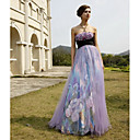 Empire Strapless  Floor-length Elastic silk-like satin Chiffon  Embroidery Quick Delivery Dress(OFGC509)