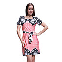 Flowers Dot Patterns Short Sleeves Round Neckline With Belt Dress / Women's Dresses (FF-1802BF411-0857)
