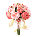 Elegant Rose Red/Pink Round Wedding Bouquet / Bridal Bouquet With Chiffon Decoration