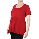 Shirring V Neckline Buttons Short Sleeves Cashmere Sweater / Maternity Wear (FF-1005BF015-0681)