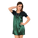 100%Silk Fabric Splicing Short Sleeves Round Neckline Sweaters Dresses /  Women's Dresses (1801BD024-0736)