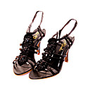 Top-Qualitt Leder Upper Mid Heels Riemchen Sandalen mit Sicken Fashion-Schuh (0985-0096)