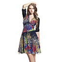 Silk / Colorful Printed Chiffon Half Sleeves V Neckline Dress / Women's Dresses (FF-B-BH0736003)