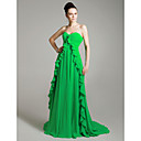 Chiffon A-line Sweetheart Court Train Evening Dress inspired by Elisabeth Moss at Emmy Award