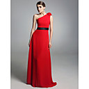 Chiffon Stretch Satin Column One Shoulder Floor-length Evening Dress inspired by Amy Poehler at Golden Globe